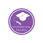 purple background with graduation cap. It reads prevention and education.